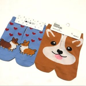 Forever 21 Socks Corgi Print Ankle NWT One Size